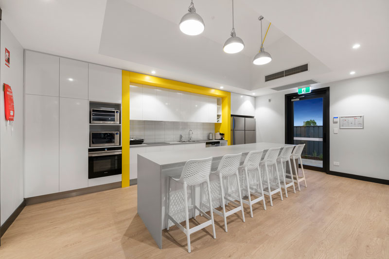 yellow bordered kitchen cabinet design