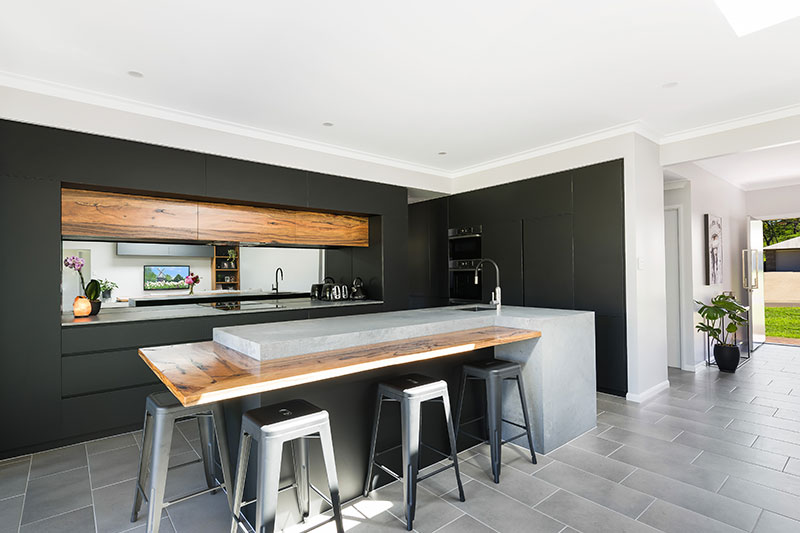 Black and wooden style kitchen