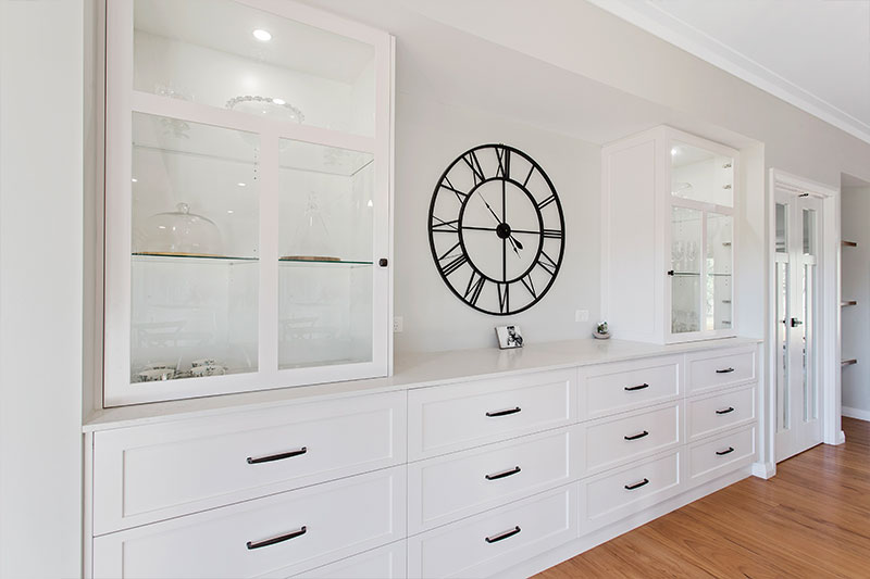 white colored home cabinets