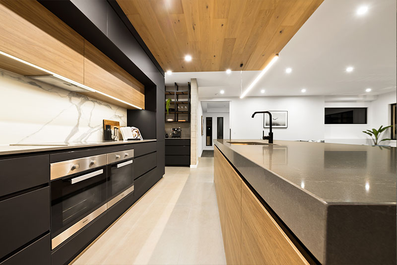 black wooden colored kitchen