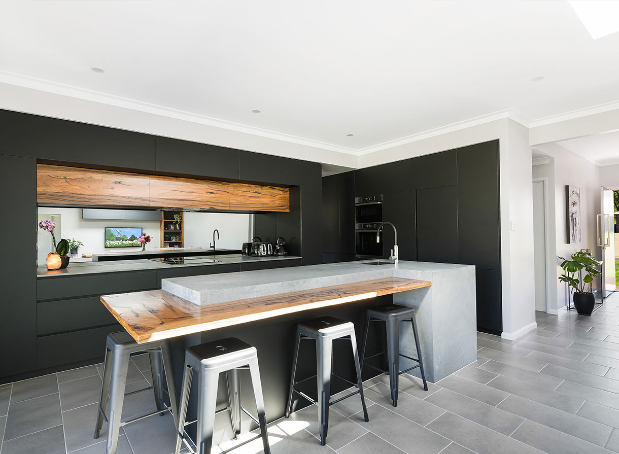 gray themed kitchen joinery