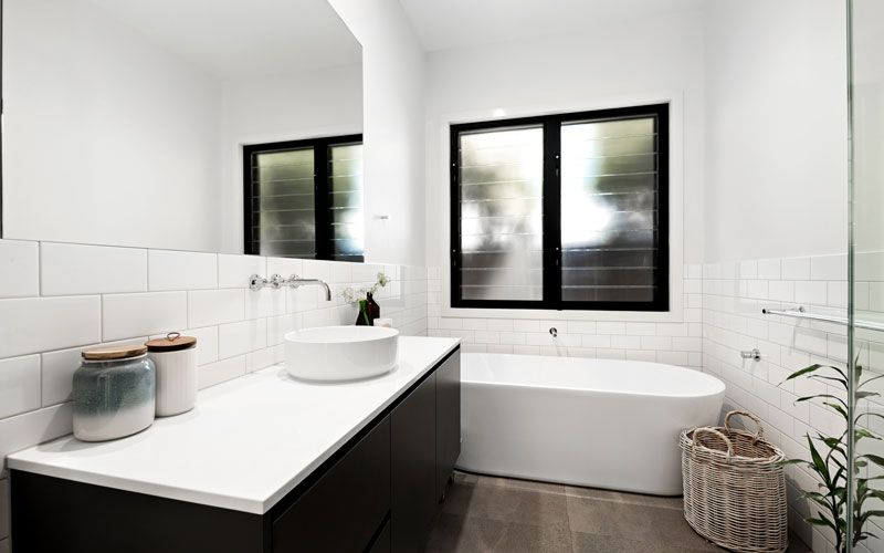 black and white bathroom themed