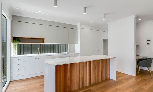 white kitchen divider and lightings