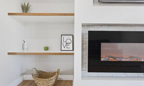 fireplace with dividers