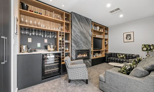 fireplace with mini wine station