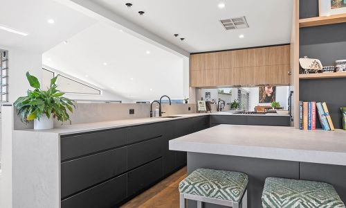 black modern kitchen cabinets and book divider
