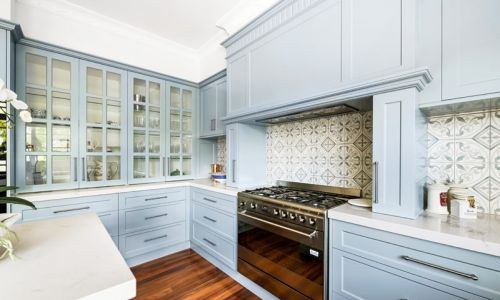 light blue colored stove cabinet