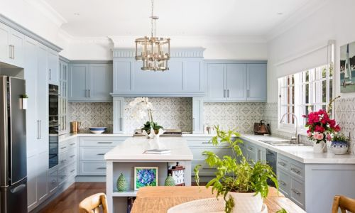 dining overview of kitchen cabinets