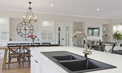 black and silver kitchen sink