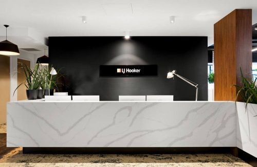 LJ Hooker Real estate black and white Front Desk front view