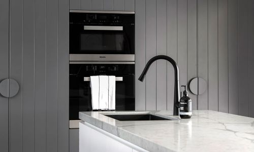black modern kitchen sink