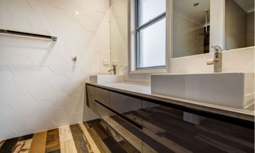 wooden floor design bathroom